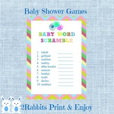 Cute As a Button Word Scramble With Answers Button Shower Baby Word Scramble Baby Shower Game- Instant Download - Boy and Girl Baby Shower by 2RabbitsPrintEnjoy on Etsy