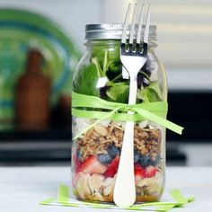 Putting the dressing at the bottom of the jar ensures your lettuce makes it to lunch hour without getting soggy.   Health.com
