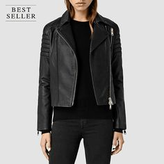 Gift idea for women. New and unique leather jacket crafted from a soft, smooth, and supple sheep leather with shoulder and elbow pads. Little details make all the difference, finished with nickel zips and ribbed back panels. Get this gift @ http://www.allsaints.com/women/leathers/allsaints-alder-biker/?colour=5&category=10491
