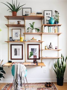 A huge space saver that could house a mounted tv, art, books, plants, and such. BUT beware it requires drilling and thus permission to drill.