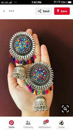 Indian Jewelry Earrings, Indian Jewelry Sets, Jewelry Design Earrings, Silver Jewellery Indian, Indian Wedding Jewelry, Ear Jewelry, Designer Earrings, Jewlery, Antique Jewellery Designs