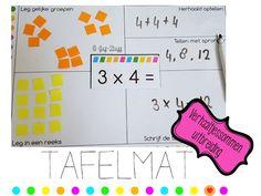 Tafelmat uitbreiding - verhaaltjessommen | Juf-Stuff | Bloglovin' Multiplication, Good Company, Montessori, Letters, Teaching, Circuit, Nice, Letter, Education