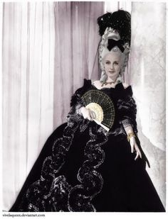 Norma Shearer is  Marie Antoinette ( MGM, 1938). Costume design by ADRIAN. Art Direction by Cedric Gibbons. Produced by Irving Thalberg.