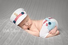 Newborn sailor boy outfit white, navy, blue, red, gold, gray tushie-up pose | Bella Rose Portraits Southern California San Diego County newborn and baby photographer photography posing techniques