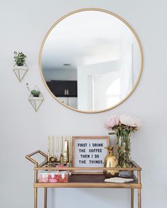 Monday mantra ... so excited to share this sneak peek of a corner in our family room. This space has been a work in progress but it's finally looking cute with the recent addition of this mirror (under $50) & wall planters ($25) aren't they cute?!  get al