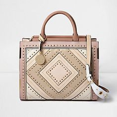 Blush Pink Large Stud And Eyelet Tote Bag River Island Bags Per