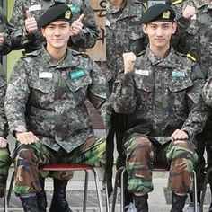 Super Junior's Siwon and Changmin are handsome in their uniforms.