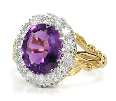 Amethyst and diamonds set in white gold with 18K yellow gold - amethyst and diamonds are early 20th century, shank is modern.