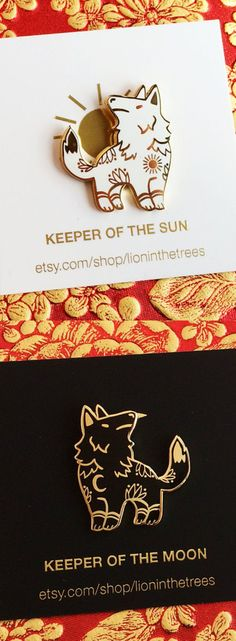 Keeper of the Sun Keeper of the Moon, Wolves, Enamel Pin, Etsy