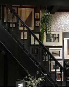 A Story of Home: How to style a dramatic dark hallway. This week's home story comes from the gorgeous Victorian terrace of Michelle Birch Black Hallway, Hallway Walls, Black Walls, Hallway Wallpaper, Victorian Hallway, Victorian Decor, Victorian Homes, Hallway Inspiration, Interior Inspiration