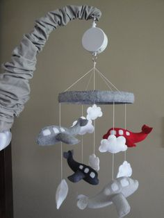 Baby Crib Mobile- Airplane Baby Mobile- Grey And Red Airplane Mobile (pick Your…