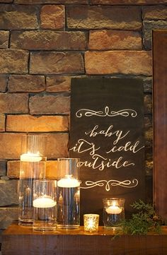 Baby it's cold outside wedding lights decor candles design interior