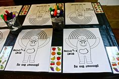 Coloring station for toddler party