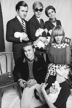 Gerard Malanga, Andy Warhol, Edie Sedgwick, Chuck Wein, Anita Pallenberg, guest and rabbits at a Warhol opening in Paris, France c. 1965. #EdieSedgwick #AndyWarhol #ArtOpening
