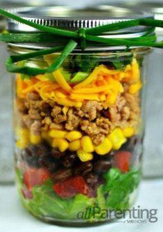 Taco Mason Jar Salad- needs more lettuce and No beans/olives :)