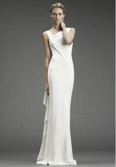 Satin Asymmetrical Neckline Column Simple Wedding Dresses - Bride - WHITEAZALEA.com