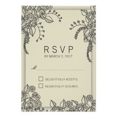 Stylish Modern Henna Floral Design RSVP response Card. Designed as a template for an easy customization. #wedding #stylish #floral #elegant #henna #rsvp #response #card #beige #mehandi #design #modern #trendy #contemporary #custom #template #templates #customizable #original #trend #drawing #illustration #summer #spring #oriental #professional