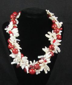 Biwa and stick pearls with Swarovski crystals and red faceted beads