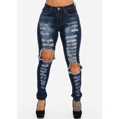 High Rise Distressed Pencil Skinny Jeans With Contrast Stitch (Indigo... ($30) ❤ liked on Polyvore