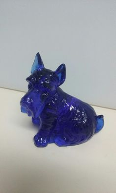Cobalt Blue Glass Scotty dog