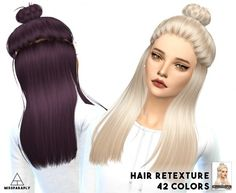 Miss Paraply: Hair retextured – Sintiklia Eliza – 42 colors • Sims 4 Downloads