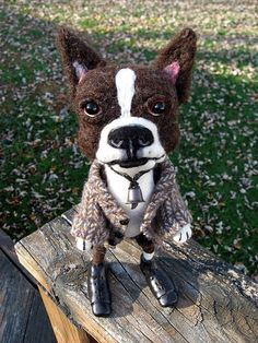 Clive, needle felted boston terrier doll