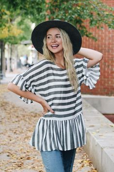 eaaa1fb51c848 Stay Together Striped Ruffle Top