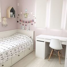 Around the bed / / Eames chair product / Living with children. Small Room Decor, Baby Room Decor, Bedroom Decor, Girls Daybed, Girl Bedroom Designs, Girls Bedroom, Toddler Rooms, Aesthetic Room Decor, White Rooms