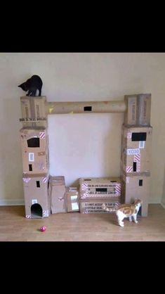 DIY cardboard cat tree tower