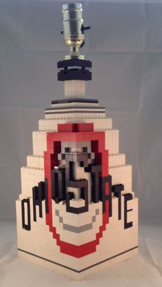 Ohio State Lamp made out of Red, White, Black and Grey Lego!