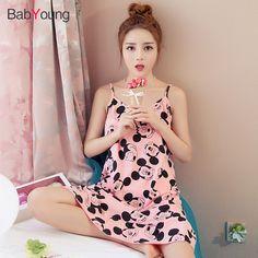 BabYoung Women Summer Pyjamas Sleep Dress Cotton Printed Girls Suspender  Sleepwear Halter Nightdress Casual Female Nighties e9aa7bab2