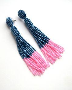 Blue earrings Tassel earrings Fringe Long earrings Oscar de la
