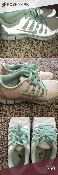 Nike free runs White and Tiffany blue Nike free runs. The swish is cheetah print. EXCELLENT condition, just need a wash. PRICE FIRM Nike Shoes Athletic Shoes