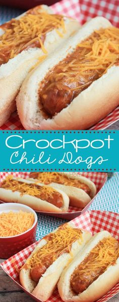 Crockpot Chili Dogs - In less than 10 minutes, you'll have saucy chili dogs simmering in the slow cooker ready when you're family is hungry! This is a great recipe for parties, too! Crock Pot Slow Cooker, Crock Pot Cooking, Slow Cooker Recipes, Crockpot Recipes, Cooking Recipes, Party Food Easy Cheap, Chili Dogs, Hot Dog Recipes, Easy Dinner Recipes