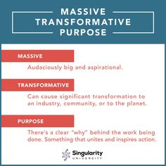 The Motivating Power of a Massive Transformative Purpose Singularity University, Design Strategy, What To Make, Science And Technology, Purpose, Learning, Futurism, Entrepreneurship, Wealth