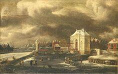 Jan van Kessel (1641-1680) - De Heiligewegspoort te Amsterdam in de winter - Heiligewegspoort
