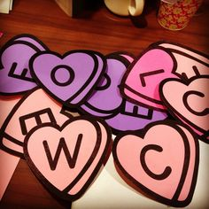 Found this free font on the Internet (Googled Valentine Fonts) and printed onto colored card stock to make these for a WELCOME pennant banner for the Father Daughter Dance.