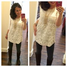 I recreated a reader's outfit and loved it!  lace tunic, grey  MUST HAVE leggings, and my Frye boots!!!!