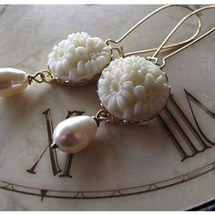 Sweet. Tear Drop Pearl Earrings by Gingeroni Jewelry