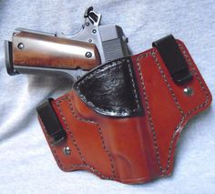 "1911 4.25"" (IWB) Molded Leather Holster, Saddle Tan with Black Trim #KeyStoneGunLeather #InsideWaistbandIWB"