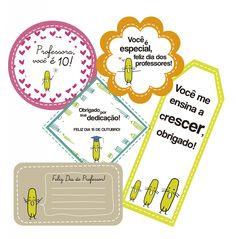 Etiquetas exclusivas do Dia dos Professores para você baixar e imprimir gratuitamente.