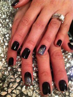 gel manicure wth glitter dust. Nails by Patty@salonbluespa190