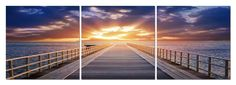 Pier Sunrise Mounted Photography Print Triptych