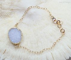 White Druzy Bracelet 14k Gold Filled Chain by AmyJillDesigns,