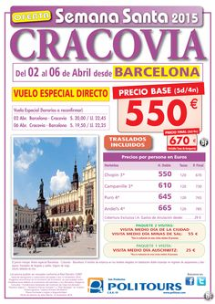 CRACOVIA - Semana Santa salida 2/04 desde Barcelona ( 5d/4n) precio final 670€ ultimo minuto - http://zocotours.com/cracovia-semana-santa-salida-204-desde-barcelona-5d4n-precio-final-670e-ultimo-minuto-2/
