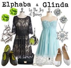 Outfits inspired by Elphaba and Glinda from the musical Wicked!