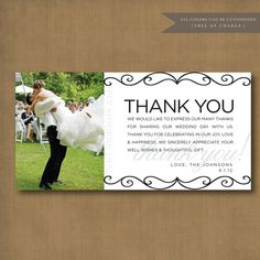 classy and elegant wedding thank you card by xSimplyModernDesignx, $15.00