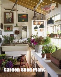 Potting Bench Ideas - Want to know how to build a potting bench? Our potting bench plan will give you a functional, beautiful garden potting bench in no time! garden rooms small spaces sunrooms 50 Best Potting Bench Ideas To Beautify Your Garden Greenhouse Shed, Greenhouse Gardening, Cheap Greenhouse, Backyard Greenhouse, Outdoor Rooms, Outdoor Gardens, Indoor Garden, Indoor Plants, Rooftop Gardens