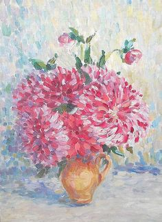 """Painting """"Dahlias in a jar"""", Oil Paintings, Wall Decor, Still life, Dahlias in a Vase, Bouquet of Flowers, Still Life Flowers, Gift for Her"""