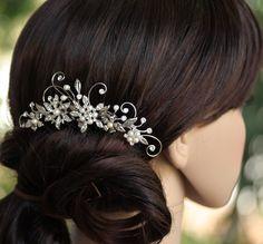 Wedding Hair Comb, Rhinestone Flower,  Leaves and vines, Vintage Bridal Comb, Crystal Side Comb Ambria 2. $95.00, via Etsy.